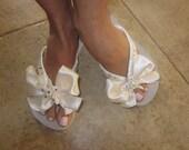 Wedding/Bridal Shoes/Flip Flop/Wedges for the Bride with JEWELLED STARFISH.Beach Weddings, Ivory Flip Flops.Beach Wedding