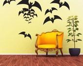 Vinyl Wall Decal Sticker Art - Spooky Bats - Halloween Decorations
