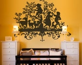 Vinyl Wall Decal Sticker Art - Vintage Players - Silhouette of Frolicking Children
