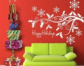 Happy Holidays Vinyl Wall Decal - Christmas decorations - tree branch with snowflakes