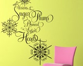 Snowflakes and Sugar Plums wall decal - Christmas Decoration - holiday decor - gold wall decal
