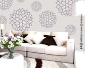 Flower Wall Decals - Flower Bloom - Nursery, Girls,Teen, dorm room, office decor - mums, dandelion, dahlia