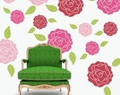 Roses flower wall decals pattern set - shabby chic decor - bedroom kids room nursery office dorm