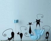 Cat wall decal set of 5 stickers