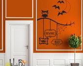 Owl and tree branch wall decal - Boo Beware Eek - Halloween Decorations - One color version