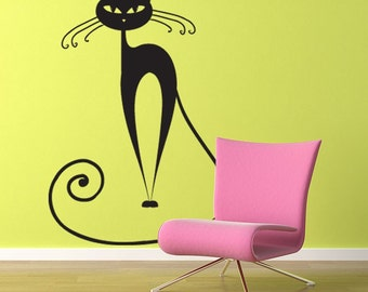 Cat wall decal large sticker