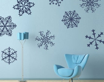 Snowflakes Wall Decals - set of 8 - holiday home decor -  hanukkah decorations -Delicate Ornate lacy - window stickers - frozen decor