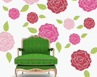 Roses flower wall decals pattern set - shabby chic decor - bedroom kids room nursery office dorm