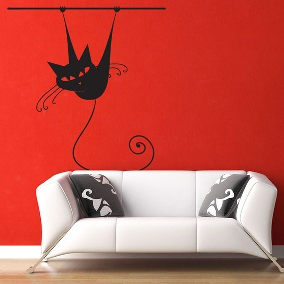 Hanging Cat wall decal large sticker