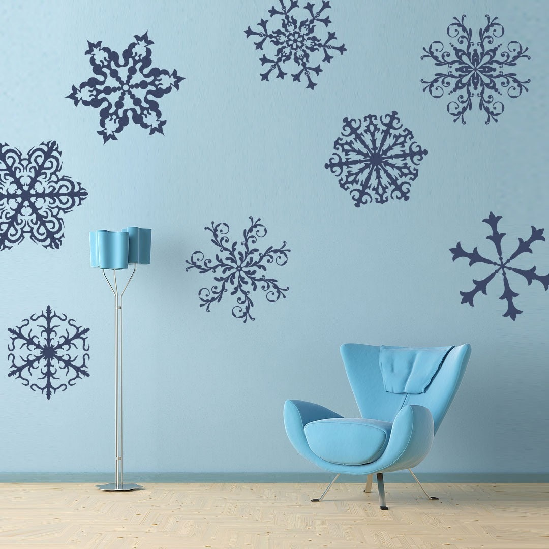 snowflakes wall decals set of 8 holiday home decor. Black Bedroom Furniture Sets. Home Design Ideas