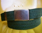 Green Vegan Belt Made from Burlap- Adjustable clam Buckle- ready to ship