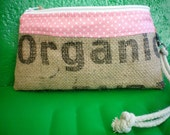 Vegan Wristlet- Recycled Coffee Sacks- Ready to Ship-Valentines Day- Pink Hearts- Organic