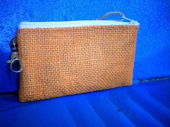 Zip Pouch Made From Orange burlap- vegan- ipod case- Ready to Ship-