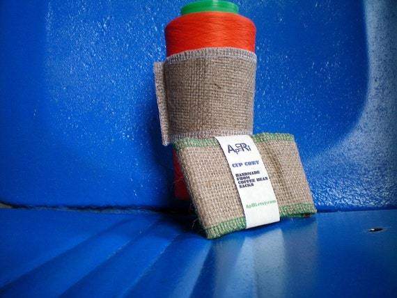 Coffee Cozy- Cup Sleeve-Java Jacket- Made from Upcycled Coffee Bean Sacks-Ready to Ship