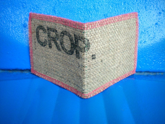 Vegan Wallet, Recycled Burlap Wallet Made From Coffee Bean Sacks- Ready to ship-Crop- Pink- Green