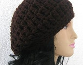 Crochet Hat, Beanie, chunky slouchy modern hat fit, tam, boho, Trendy, Dark Brown, Mocca,Seal brown, Chocolate, Maroon, Brown