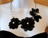 50% Off floral lace necklace and pearls, statement necklace - Clemence