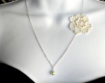 Simple ivory lace wedding necklace, lace necklace - single pearl necklace- KATHERINE