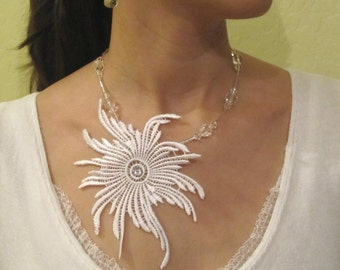 Sale white lace necklace, bridal necklace, statement necklace - 60% Off - ALEIDA II