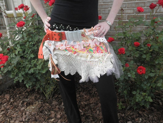 Bonner Hippie Urban- Rainbow-Fairy- Pixie - Twirly Festival Wrap Tattered Scrap  Skirt  - or  Top - Belted Hoopster