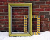 Repurposed Picture Frame - Gray and Yellow Ornate Pattern - Party Photo Booth Prop