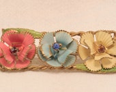 1940s Vintage Pastel Brooch Signed Made in Austria - Free US Shipping