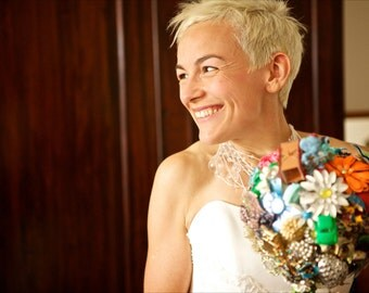 Vintage Toy and Jewelry Bridal Brooch Bouquet - Novelty Unique Alternative Punk Rock Pinup Modern Unexpected Wedding Bouquet Details Custom