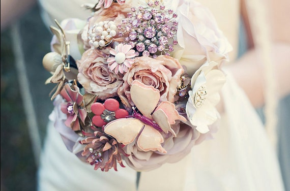 Custom Large Brooch Bouquet - Romantic Silk Flowers & Enamel Brooches - Made to Order