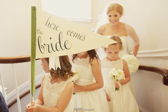 Here Comes The Bride Sign - Large Pennant Flag For Your Flower Girl