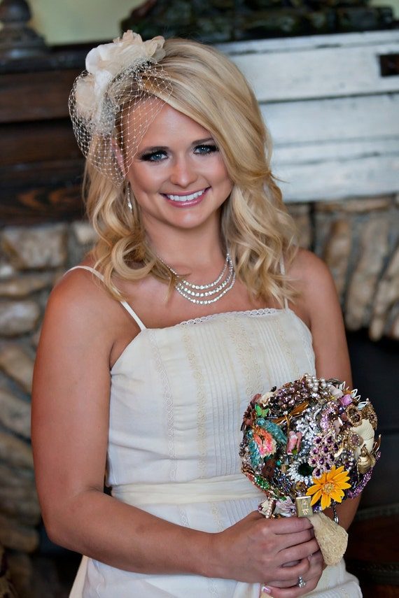 Vintage Brooch Bouquet - Miranda Lambert Heirloom Bridal Bouquet - Featured in Us Weekly - Brooch Shower Custom