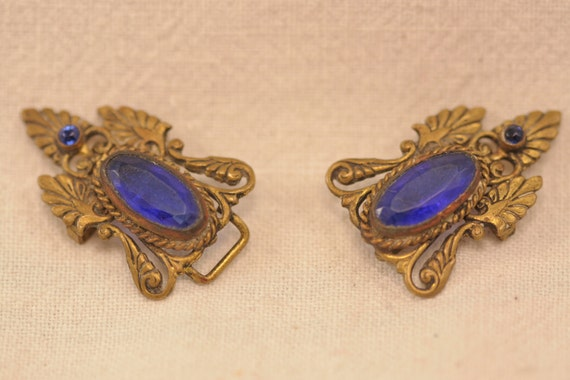 Reserved for Sarah Cobalt Blue Art Nouveau Buckles - Free US shipping