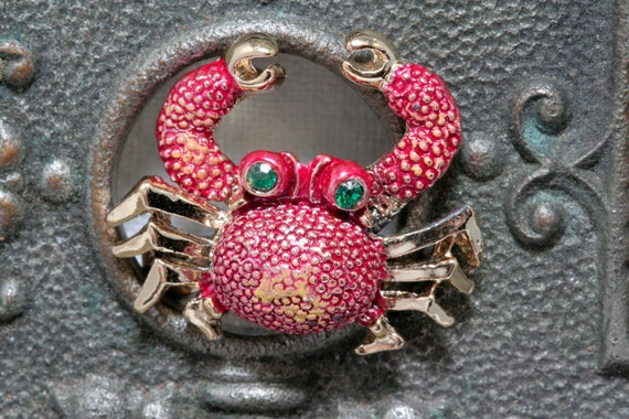 Reserved for Meredith Green Eyed Crab Brooch with Moving Arms