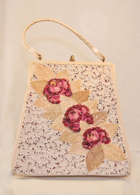 Vintage Purse 1960s - Beaded Rose - Signed Soure Bag New York