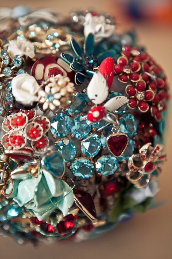 Custom Brooch Bouquet Handmade by The Ritzy Rose - Small Bridal Bouquet