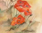 POPPIES  A large  Personalized Note Card from an original watercolor