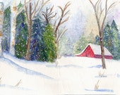 CHRISTMAS BARN  A large Christmas card from my Original Watercolor Painting