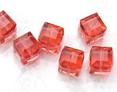 Swarovski Crystal Cube Beads Padparadscha 5601 6mm (6)