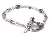 Dainty Beaded Bracelet Rose Buds Swarovski Crystal Pink