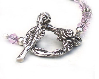 Rosebud Floral Jewelry Sterling Silver Toggle Clasp 24mm