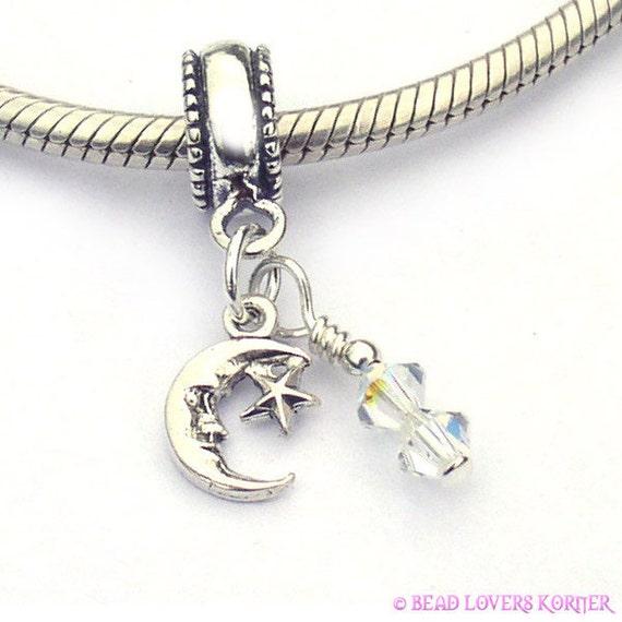 Moon and Star Crystal European Charm Bead