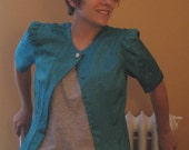 1980s silky turquoise short sleeved jacket M/L - 5 DOLLAR SALE