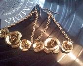 golden rose bouquet dangly earrings