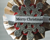 Merry Christmas Accordion Ornament with Glittered Snowflake