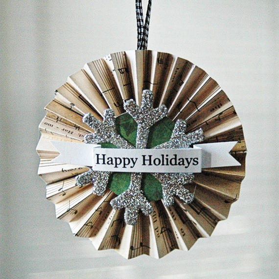 Happy Holidays Accordion Ornament with Antique Glitter