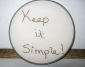 Hoop, embroidery, Keep it Simple, vintage metal hoop, organic cotton muslin, wall art