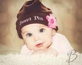 SWEET PEA with flower...Brown Cotton Knit Cap ......Baby ButtonTops