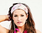 White with pink gray white leaves fabric headband