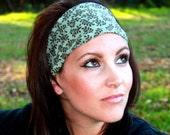 Green with brown leaf fabric headband