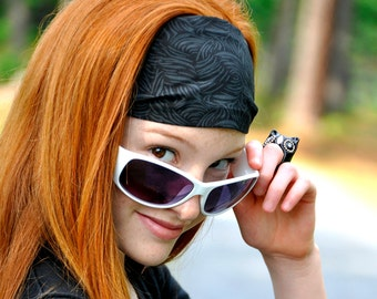 Black and charcoal fabric headband