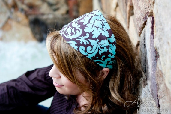 Brown and turquoise damask headband